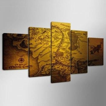 Navigation Map Print Wall Art Split Canvas Paintings, Antique Within Split Wall Art (Image 9 of 20)