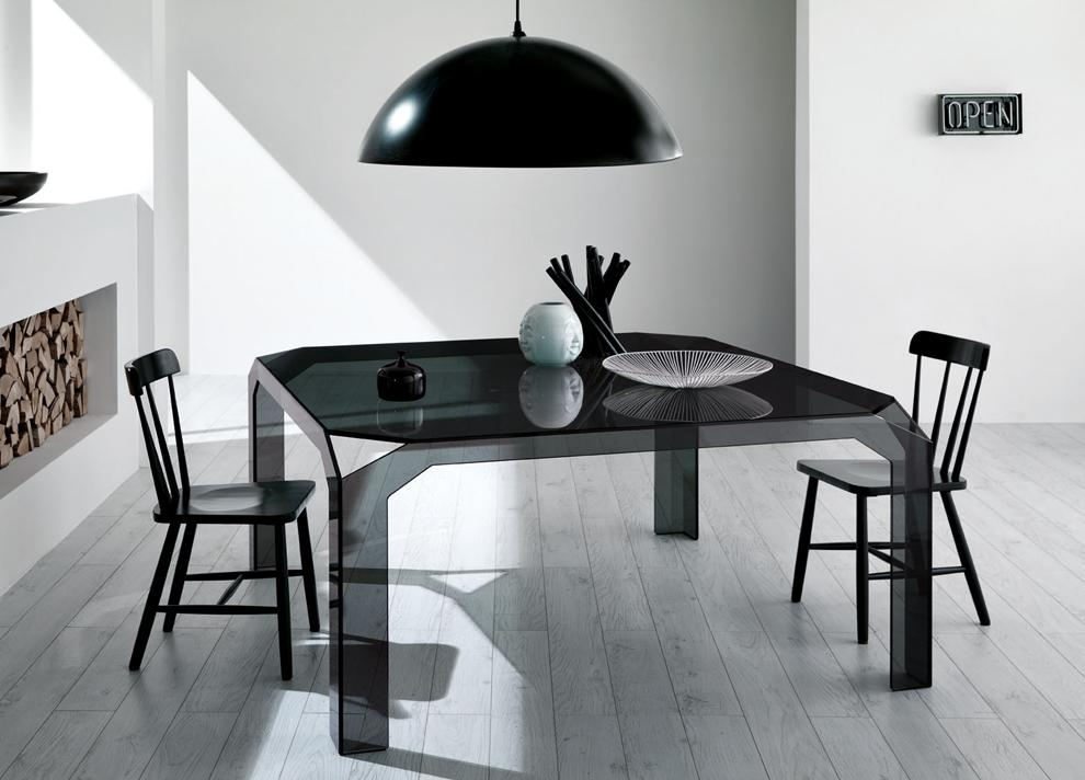 Nervi Square Glass Dining Table | Glass Tables | Tonelli Design Intended For Latest Square Black Glass Dining Tables (Image 13 of 20)