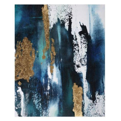 Neutral Horizon Gold Canvas Wall Art Pertaining To Teal And Gold Wall Art (Image 18 of 20)