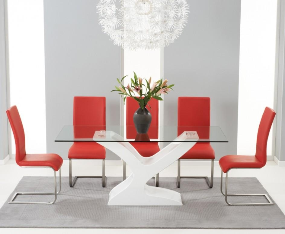 Nevada 180Cm White High Gloss And Glass Dining Table With Malaga Inside 2017 Red Gloss Dining Tables (Image 13 of 20)
