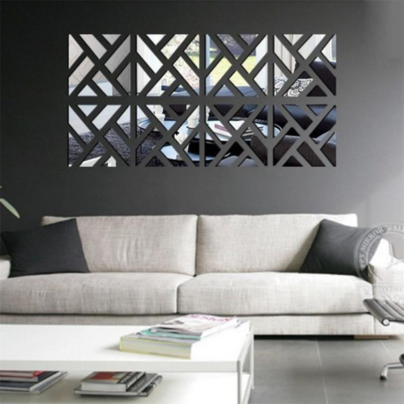 New 3D Acrylic Mirror Wall Stickers Square Living Room Bedroom In Wall Art Deco Decals (Photo 16 of 20)