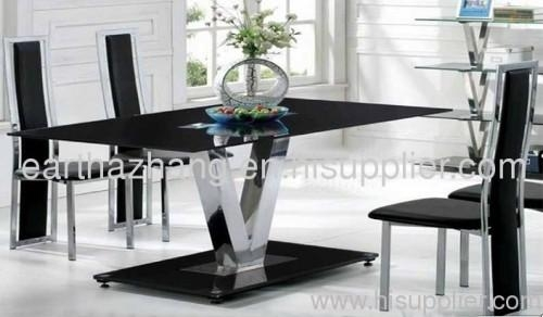 New Style Black Tempered Glass Dining Table And Chairs Xydt 261 Intended For Latest Black Glass Dining Tables (Image 17 of 20)