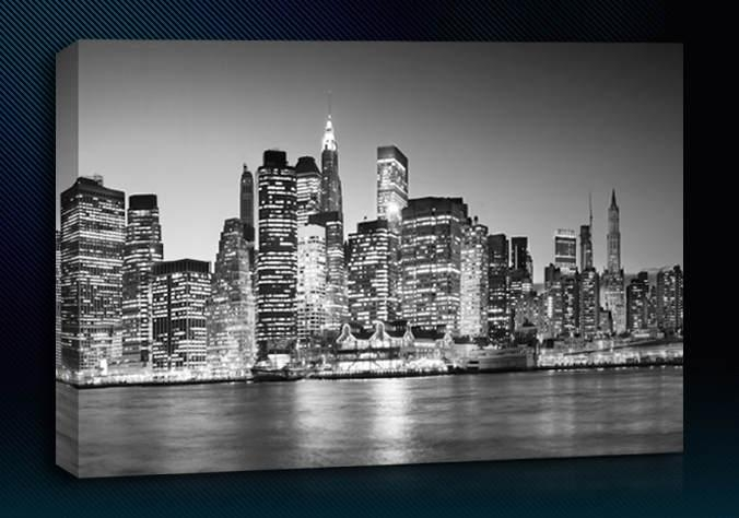 New York Black White Regarding New York Skyline Canvas Black And White Wall Art (Image 7 of 20)