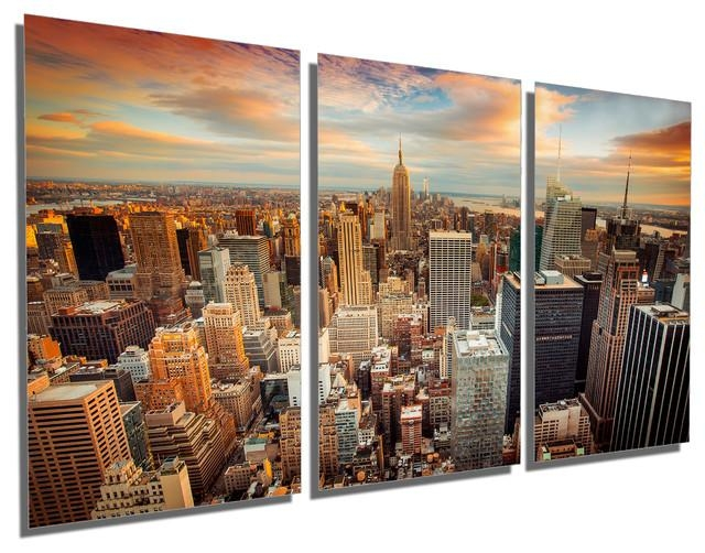 New York City Skyline Aerial View Metal Print Wall Art, 3 Panel Intended For Metal Wall Art New York City Skyline (View 17 of 20)
