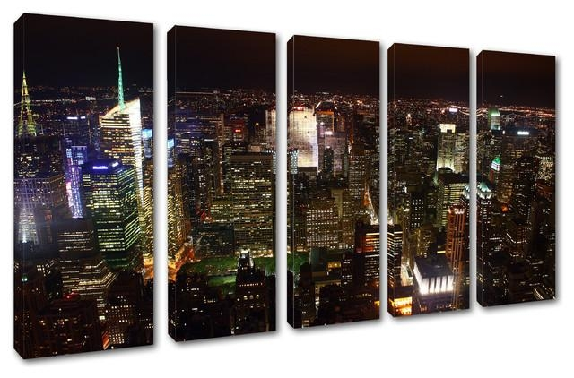 New York City Skyline At Night Canvas Print, 5 Panel Split Wall Throughout Split Wall Art (Image 10 of 20)