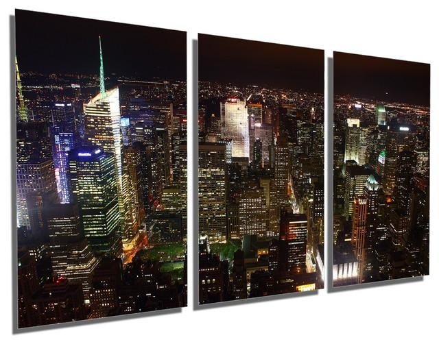 New York City Skyline At Night, Metal Print Wall Art, 3 Panel Pertaining To Metal Wall Art New York City Skyline (Image 13 of 20)