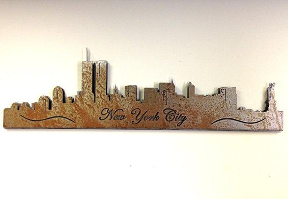 New York City Skyline Vintage Steel Custom Skyline Metal Wall Within Metal Wall Art New York City Skyline (Image 15 of 20)