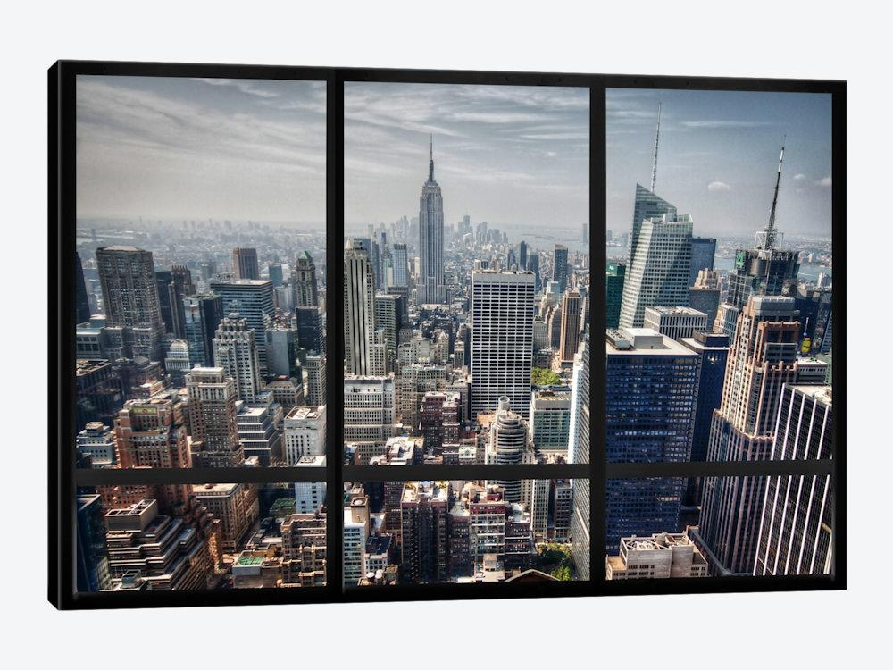 New York City Skyline Window View Art Printicanvas | Icanvas With Regard To New York Skyline Canvas Black And White Wall Art (Image 9 of 20)