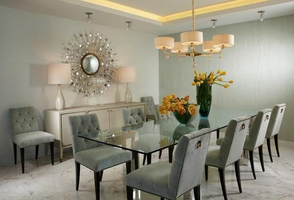 Nice Contemporary Dining Room Furniture And Contemporary Dining Throughout Most Popular Dining Room Glass Tables Sets (Image 13 of 20)