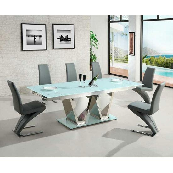 Nico Extending Glass Dining Table In White And 6 Grey Throughout Latest Extendable Glass Dining Tables And 6 Chairs (Image 18 of 20)
