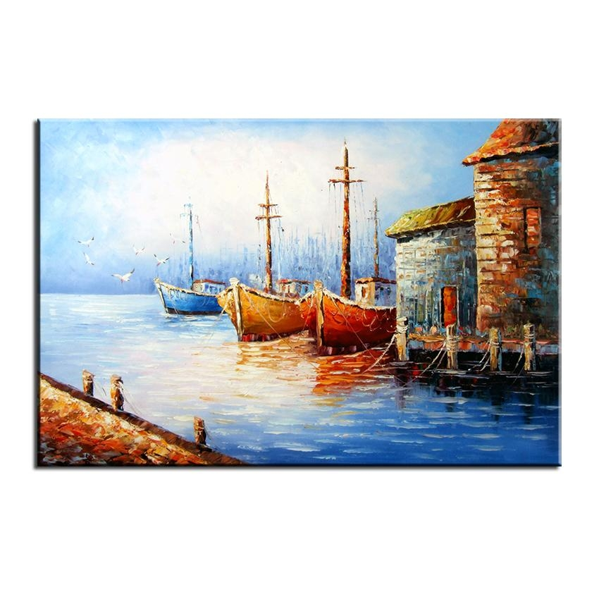 No Frame Printed Beautiful Italian Village Landscape Oil Painting For Italian Village Wall Art (Image 14 of 20)