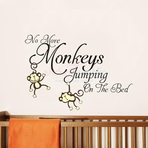 No More Monkeys Jumping On The Bed' Monkey Wall Sticker Inside No More Monkeys Jumping On The Bed Wall Art (Image 16 of 20)