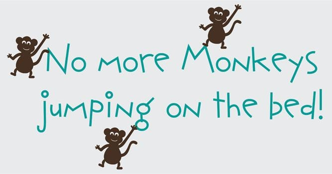 No More Monkeys Jumping On The Bed Vinyl Wall Graphic Throughout No More Monkeys Jumping On The Bed Wall Art (Image 10 of 20)