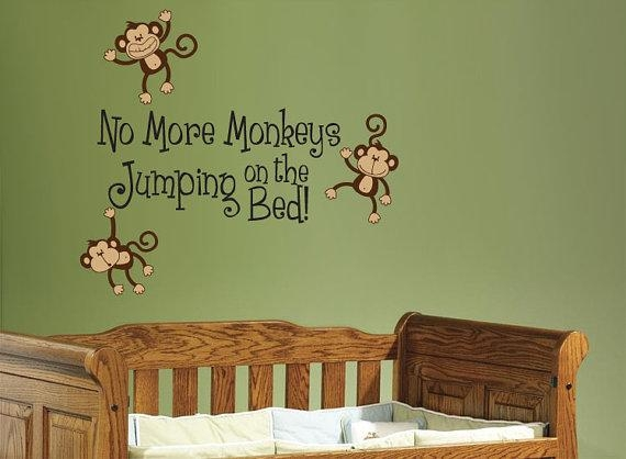 No More Monkeys Jumping On The Bed Wall Decal Children's In No More Monkeys Jumping On The Bed Wall Art (Image 13 of 20)