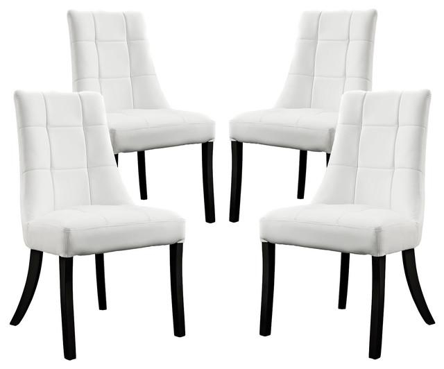 Noblesse Vinyl Dining Chair Set Of 4 – Transitional – Dining Pertaining To Most Recently Released White Dining Chairs (Photo 9 of 20)