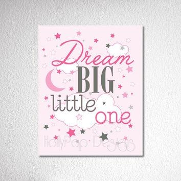 Nursery Wall Decor Dream Big Little One From Hollypop Designs Within Inspirational Wall Art For Girls (Image 15 of 20)