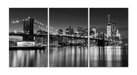 Nyc Skyline Photography Print Large Canvas Art 3 Panel Intended For New York Skyline Canvas Black And White Wall Art (Image 12 of 20)