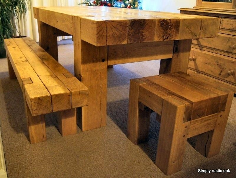 Oak Beam Dining Table – Zagons (Image 9 of 20)