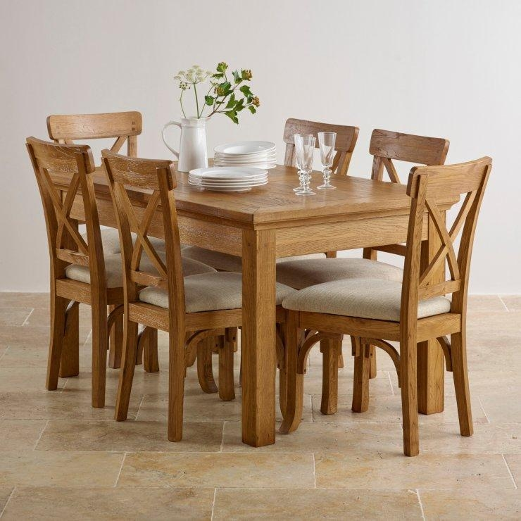 Oak Dining Table And Chairs Superb Of Dining Table Sets With Intended For Most Popular Oak Dining Tables And Fabric Chairs (Image 16 of 20)
