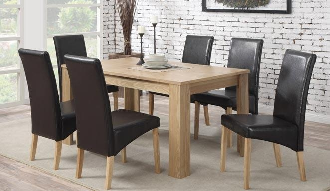 Oak Dining Table With 6 Faux Leather Chairs 39% Off With Regard To 2017 Oak Dining Tables And Leather Chairs (Image 13 of 20)