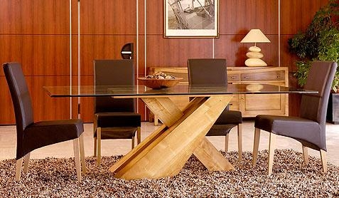 Oak Glass Top Dining Table (Image 19 of 20)