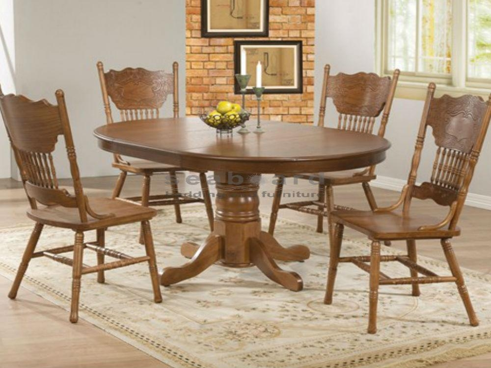 Oak Round Dining Table Set For 4 | Eva Furniture For Most Recent Oak Round Dining Tables And Chairs (Image 11 of 20)