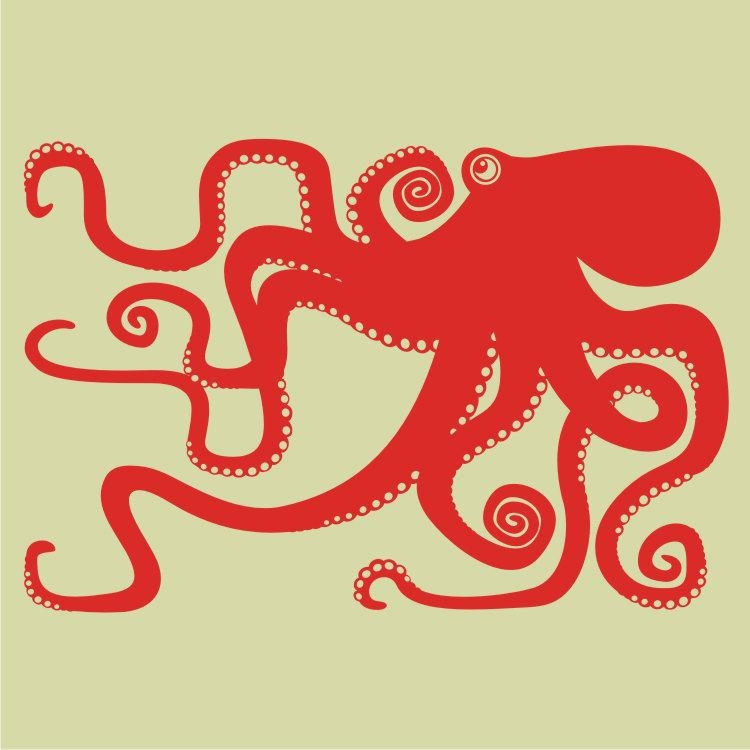 Octopus Vinyl Wall Decal Large, Sticker Art, Tentacles, Octopus With Regard To Octopus Tentacle Wall Art (Image 16 of 20)