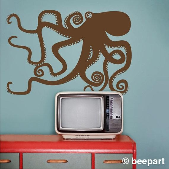 Octopus Wall Decal Octopus Vinyl Sticker Art Tentacles With Regard To Octopus Tentacle Wall Art (Image 17 of 20)