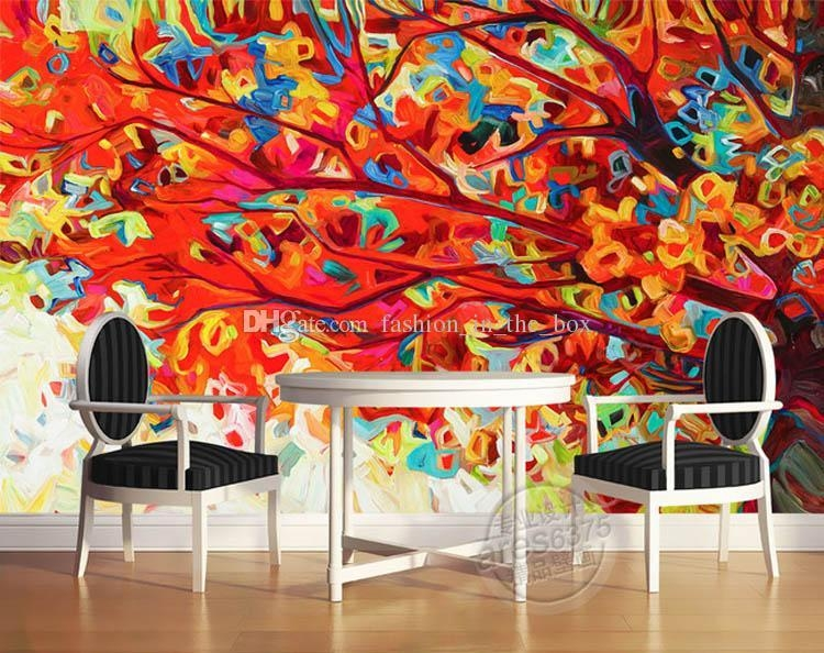 Oil Painting Tree Wall Mural Abstract Art Photo Wallpaper Custom Inside Abstract Art Wall Murals (View 6 of 20)