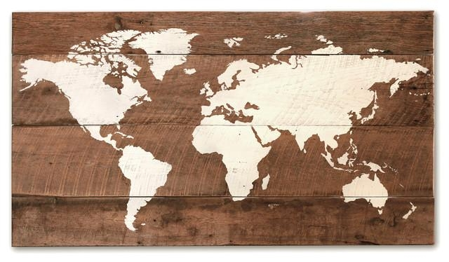 "Old World Wall Map, 37""x20"" – Rustic – Mixed Media Art – Regarding Old World Map Wall Art (Image 11 of 20)"