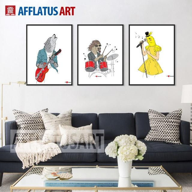 Online Shop Afflatus Abstract Canvas Painting Horse Bird Wolf Rock For Rock And Roll Wall Art (Image 12 of 20)