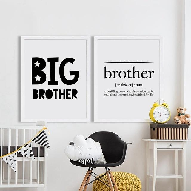 Online Shop Big Brother Quote Print Boy's Room Wall Art Decor In Brother Definition Wall Art (Image 12 of 20)