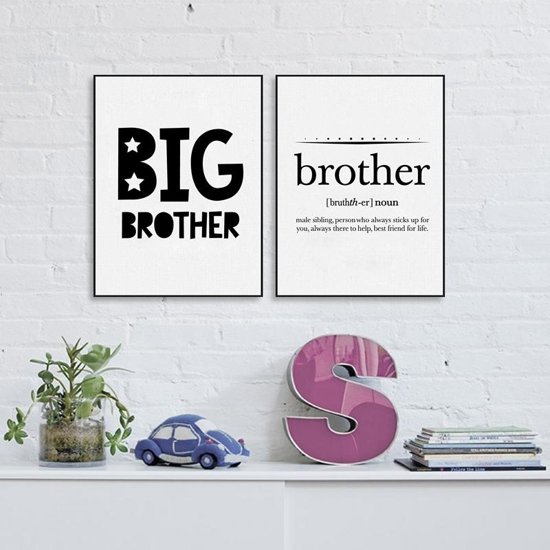 Online Shop Big Brother Quote Print Boy's Room Wall Art Decor Inside Brother Definition Wall Art (Image 13 of 20)