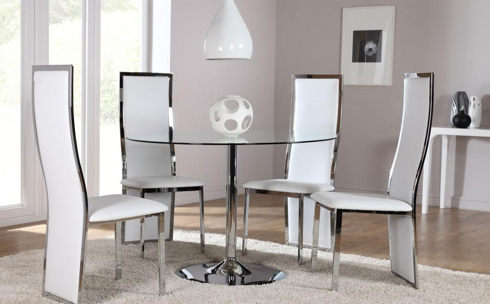 Orbit Round Glass & Chrome Dining Room Table And 4 Chairs Set Within Most Current Chrome Dining Room Sets (View 11 of 20)