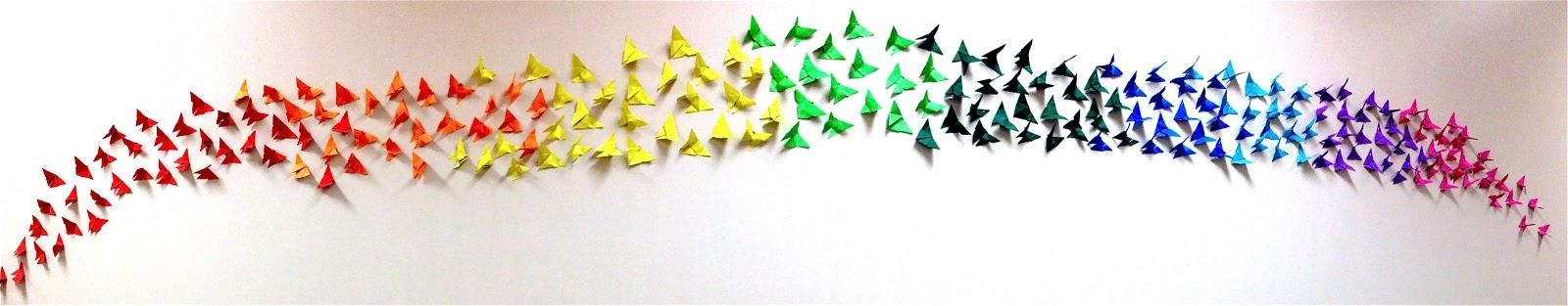 Origami Butterfly Rainbow Wall, 4Th & 5Th Grade | Art: School At For Rainbow Butterfly Wall Art (View 14 of 20)