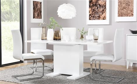 Osaka White High Gloss Extending Dining Table And 6 Chairs Set Within 2017 Perth White Dining Chairs (Image 13 of 20)