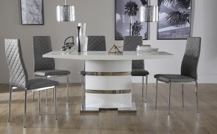Osaka White High Gloss Extending Dining Table With 6 Renzo Grey Throughout Most Recent High Gloss White Dining Tables And Chairs (Image 12 of 20)