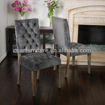 Osar French Style Upholstered Louis Button Back Luxury Velvet With Most Recently Released Button Back Dining Chairs (Image 17 of 20)