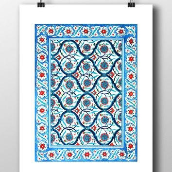 Ottoman Floral Wall Tile Art Watercolor From Hermesarts On Etsy With Regard To Turkish Wall Art (View 2 of 20)