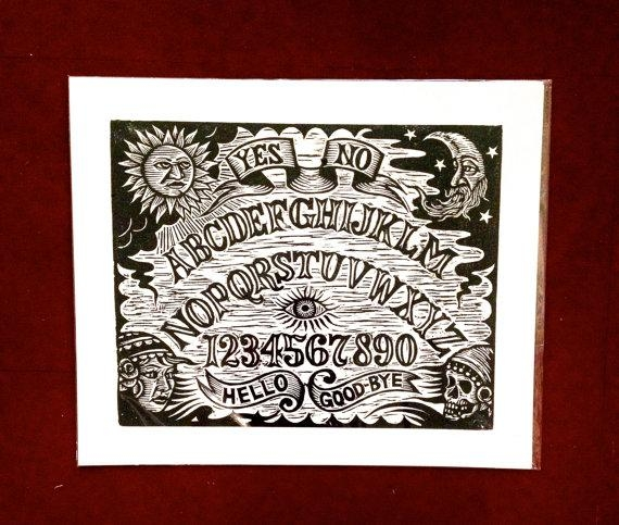 Ouija Board Woodcut Wall Arthorse And Hare Hand Printed For Ouija Board Wall Art (View 7 of 20)