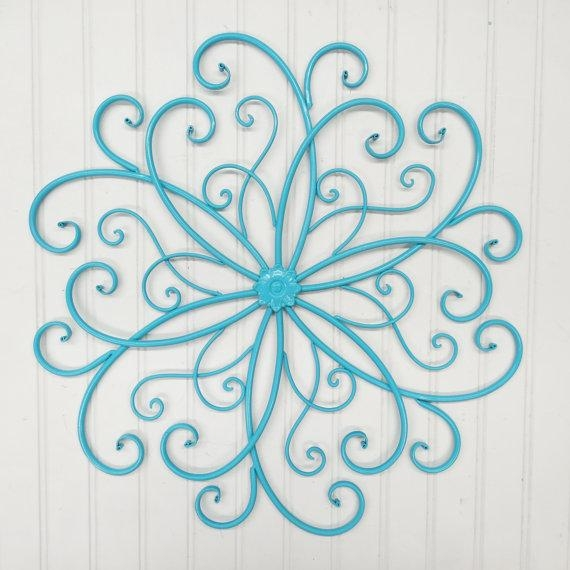 Outdoor Metal Wall Art/wall Decor/faux Wrought Iron/metal Wall Throughout Teal Metal Wall Art (Image 9 of 20)