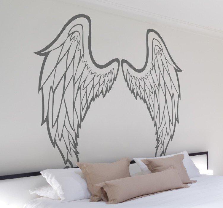 Outline Of Angel Wings Wall Art Sticker – Tenstickers Within Angel Wing Wall Art (Image 17 of 20)