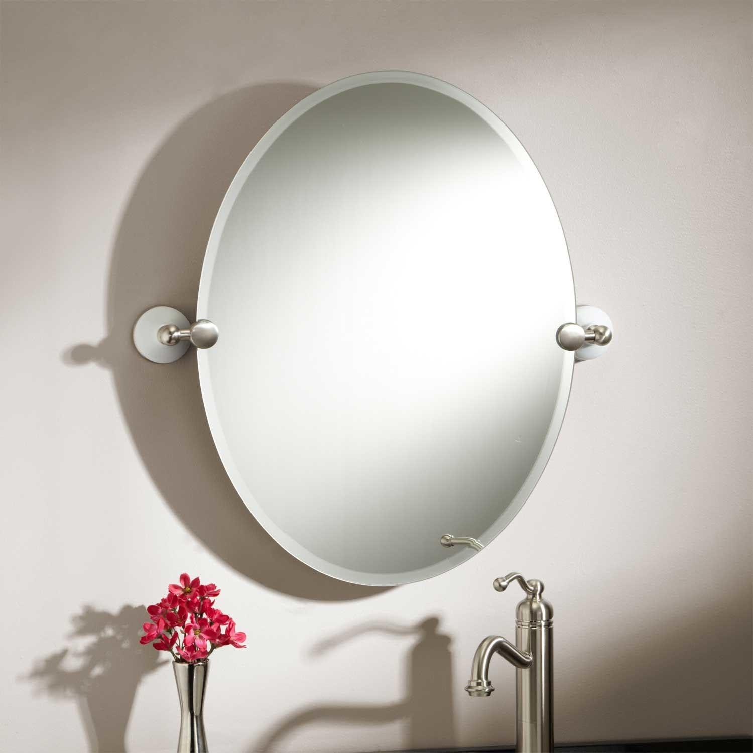 Oval Bathroom Mirrors Brushed Nickel | Best Decor Things Within Oval Bath Mirrors (Image 12 of 20)