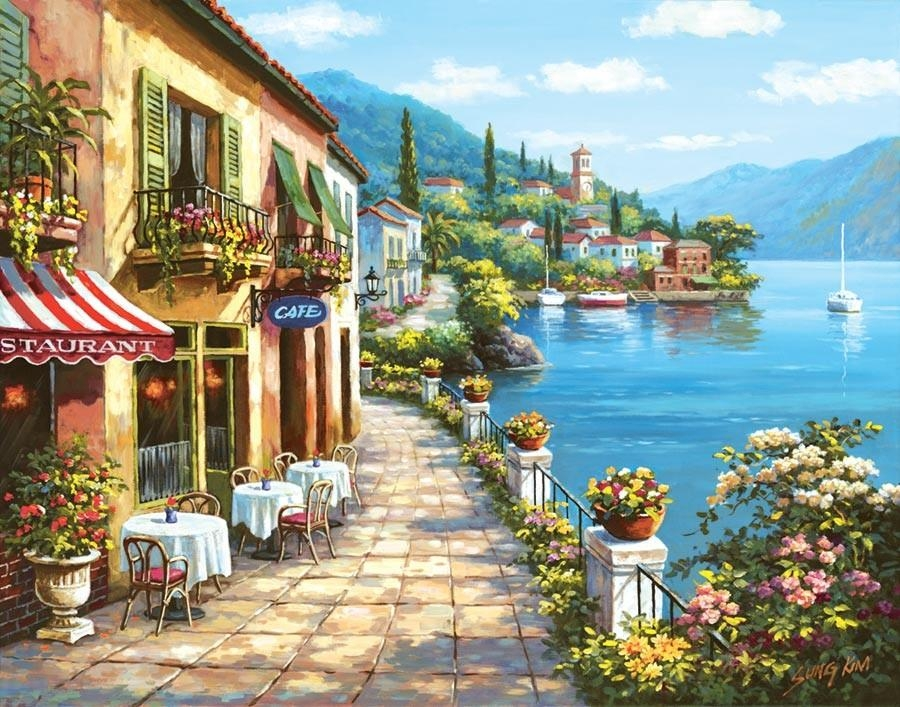 Overlook Cafe I Mural – Sung Kim| Murals Your Way Within Italian Cafe Wall Art (Image 14 of 20)