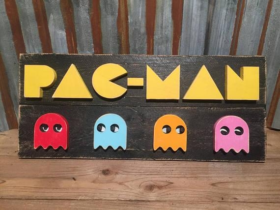 Pac Man Video Game Wood Sign Wall Art Gaming Signs Within Arcade Wall Art (View 15 of 20)