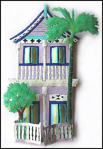 Painted Metal Gingerbread House Wall Hangings, Tropical Decor Within Caribbean Metal Wall Art (View 13 of 20)