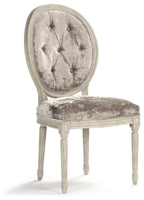 Pair Madeleine French Country Oval Velvet Dining Side Chair For Velvet Dining Chairs (Image 14 of 20)