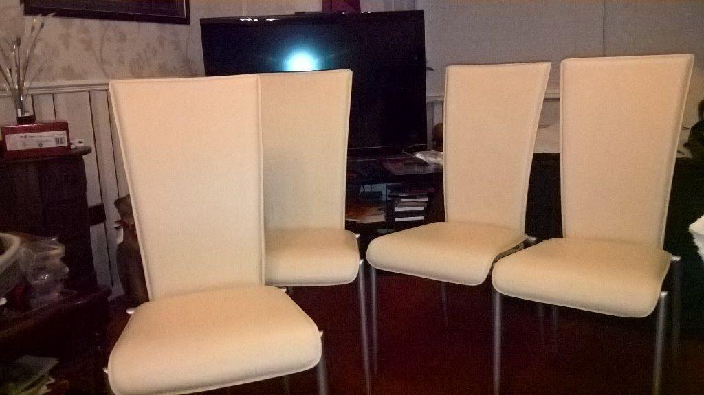 Pair Of Cream High Back Faux Leather Dining Chairsactona | In Regarding Latest Cream Faux Leather Dining Chairs (View 19 of 20)