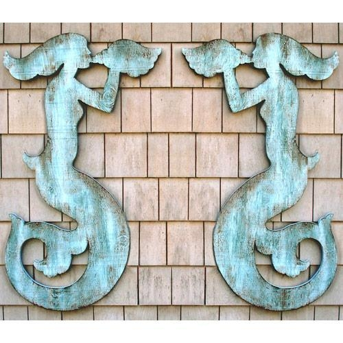 Pair Of Mermaid Sea Silhouettes From Suzanne Nicoll Studio With Regard To Mermaid Wood Wall Art (Image 6 of 20)