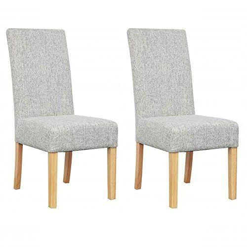 Pair Of Salta Grey Weave Fabric Dining Chairs With Light Oak Legs With Most Recently Released Oak Fabric Dining Chairs (Image 14 of 20)